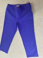 Chicos Size 14 Us 1.5 VGC Purple Blue Cropped Chino 3/4 Length Trousers Capri