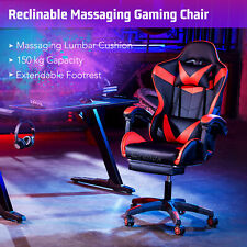 Racing Reclining Office Computer Gaming Desk Massage Chair With Footrest PU UK