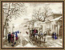 Old Victorian Street Winter Scene 14 Count Cross Stitch Kit Horse And Carriage