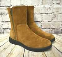 Womens Clarks Un Elda Mid Tan Suede Low Heel Ankle Boots UK 5 EUR 38