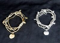 """5-Band Tube Bead Bracelet, w/Inscribed Charm """"Imagine"""", White or Yellow Brass"""