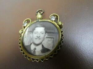 VINTAGE ANTIQUE VICTORIAN  EDWARDIAN  GLASS PHOTO LOCKET PENDANT, Brass?