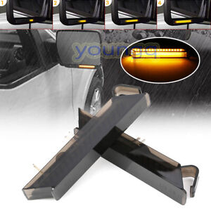 LED Under Side Mirror Light Dynamic Turn Signal Lamp For Ford F-150 04-14 Smoked