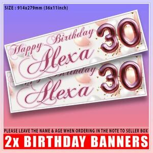 2 PERSONALISED BIRTHDAY BANNER ROSE GOLD PARTY BALLOON -18th 21st 30th 40th 50th