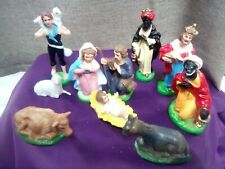 Vintage 60's Nativity Scene Figures x 10 Hollow Rigid Plastic.