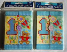 Lot of Two 2 Onederful Boy Thank You Cards 8 per pack Envelopes Blue Bear