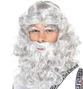 Mens Zeus Fancy Dress Wig, Eyebrows & Beard in Retail Box Grey by Smiffys