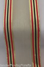 """SHEER GOLD W/RED/GREEN/GOLD STRIPE EDGE 2 1/2 """"WIRE RIBBON 10 YARDS, XMAS BOWS"""