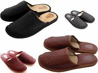 Mens Slipper Shoes Mule Natural Leather Hand Made Black Brown Grey
