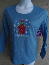 NWT WOMENS JUST MY SIZE  L/S COTTON GLITZY BIRDHOUSE  GRAPHIC TEE TOP BLUE  4X