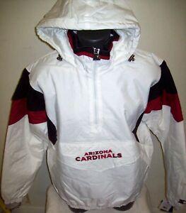 ARIZONA CARDINALS Starter Hooded Half Zip Pullover Jacket  M L XL 2X WHITE