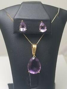 14k Yellow gold Amethyst Pendant & Earring Set, large gemstones!