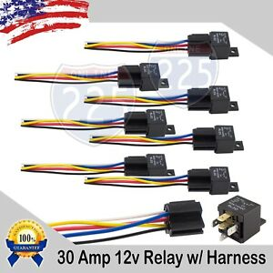 12 Volt 30 AMP SPDT Automotive Marine Relay with Wire Harness Socket (8 pack)