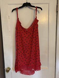Women Plus Size 3X(22W-24W)Red With Black Hearts Sexy Nightgown Secret Treas