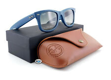 New Ray-Ban WAYFARER LEATHER Sunglasses | RB2140QM  Blue / Grey Gradient Lens