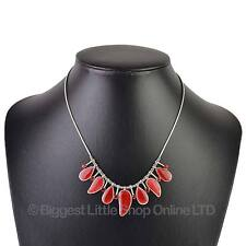 NEW Ladies Elegant RED Enamelled & Jewel NECKLACE Stylish Summer Classic Pretty
