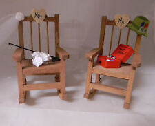 Wedding Reception Mr. Mrs Fishing Tackle Box Bouquet Rocking Chairs Cake Topper
