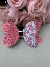 Beautiful 3.5 Inch Girls/toddler Handmade Dinasour Glitter Hairbow Clip