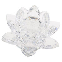 Crystal Lotus Flowers Crafts Paperweights Buddhist Feng Shui Ornaments Clear