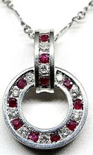 14K White Gold Diamond /Ruby Circle  Pendant / Necklace ,Tweeted Chain 18''.