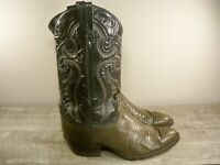 Tony Lama 2-Tone Pull On Leather Men's Cowboy Western Boots Size 9.5 Made in USA