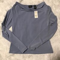 New York & Company Womens Size Small Blue Stretch Long Sleeve Blouse Brand New