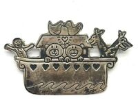 Elegant Sterling Silver 925 Oxidized Boat Family Animal Love Large Pin Brooch