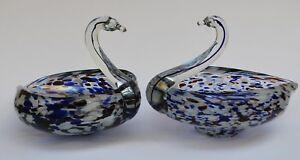 Pair ofVintage Multi Coloured Glass Swans