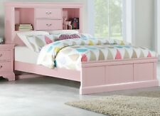 Light Pink Wooden birch Veneer Twin Size bed 1p Bedframe Bedroom Furniture HB FB