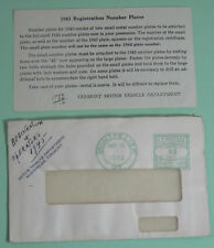 1943 Vermont Motor Vehicle Department Registration Stub License w/Envelope
