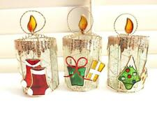 SET of 3 CHRISTMAS TEA LIGHT CANDLE HOLDERS STAINED GLASS EFFECT* NEW