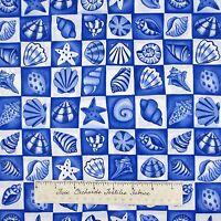 Nautical Fabric - Beacon Blue & White Seashell Block - Timeless Treasures YARD