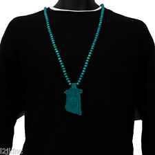 Men Turquoise Jesus Pendant Wood Hip Hop Ball Beaded 36 Inch Chain Necklace