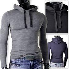 D&R Mens Jumper Slim Fit Grey Black Navy Blue Hooded Stretchy Cotton Fitness