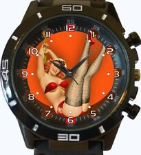 Pin Up Girl Novelty Trendy Sports Gt Style Unisex Gift Watch