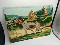 ANTIQUE-VTG PAINT BY NUMBERS DOG NATURE WOODS RARE HOUND TERRIER HUNTING OLD 16""