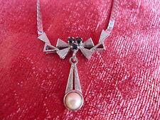 Bella, vecchia catena collana ___ __ 835 ARGENTO __ Collier __ con perla e pietre!