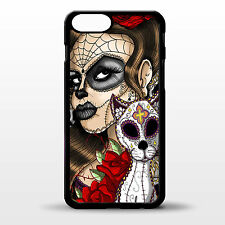 Cover for Iphone 6 plus Day of the dead cat tattoo girl sugar skull rubber case