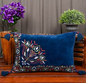 Handmade Cushion Cover Velvet  Embroidery Pillow Cover 16 x 24 inches set of 2