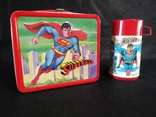 1978 ALADDIN SUPERMAN METAL LUNCHBOX and THERMOS - VINTAGE NEAR MINT