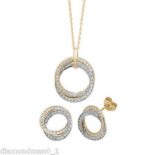 9ct Yellow Gold Necklace Complete with Double Circle CZ Pendant and Earring Set