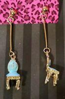 Betsey Johnson blue enamel chair Golden Ball Ear Stud Dangle Long Drop Earrings
