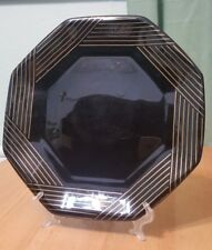 "Vtg Arcoroc Octime Black gold lines Glass 10.5""  octagon dinner Plate France"