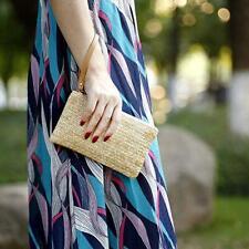 Wristlet Clutch Women Money Phone Pouch Straw Woven Purse Beach Wallet Fashion