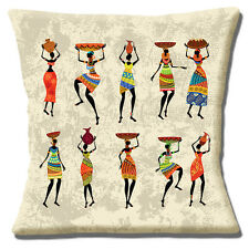 African Tribal Ladies Cushion Cover 16x16 inch 40cm Carrying Pots and Baskets