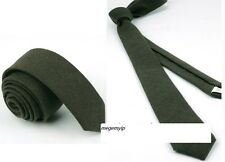 Men 2 inch Vintage Wool Slim Plain Solid Narrow Necktie Tie Dark Grey Gray Black