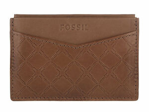 FOSSIL Hampton Camel LEATHER Card Case Wallet ML3575235