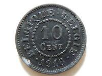 "1916 Belgium Ten (10) Centimes ""German Occupation"" Coin"