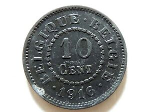 "1916 Belgium Ten (10) Centimes ""German Occupation"" Coin"