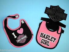Harley-Davidson Baby Girls Twin Pack Bibs NEW